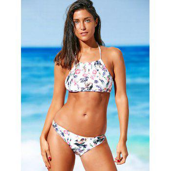 Halter Crop Top Floral Push Up Padded Bikini Set