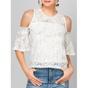 Bell Sleeve Cold Shoulder Lace Blouse