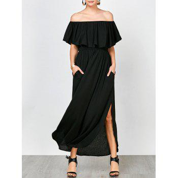 High Split Flounce Maxi Dress with Pockets