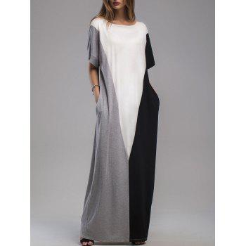 Contrast Panel Maxi Dress with Pockets