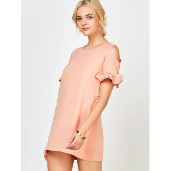 Ruffle Cold Shoulder Mini Dress - PINK M