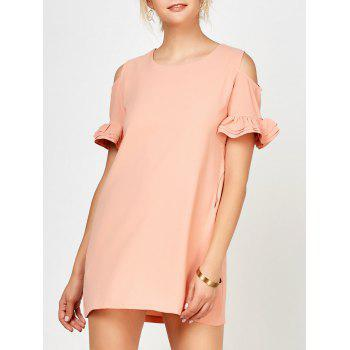 Ruffle Cold Shoulder Mini Dress