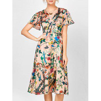 V Neck Floral Print Self Tie Dress