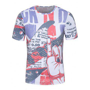 Short Sleeve 3D Guitar Graphic Print Patriotic T-Shirt