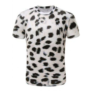 Short Sleeve 3D Leopard Print Cotton Blends T-Shirt
