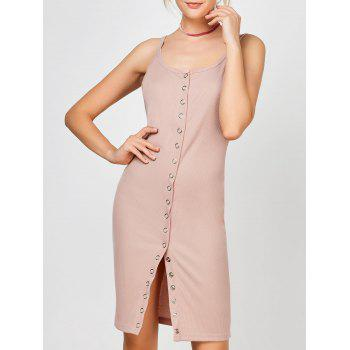 Button Up Ribbed Bodycon Slip Dress