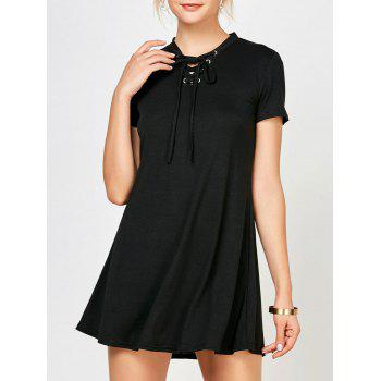 Grommet Lace Up Mini Dress