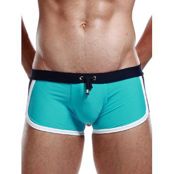 Stretchy Color Block Design Drawstring Swimming Shorts
