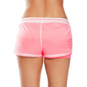 Layer Drawstring Sports Shorts with Pockets - WATERMELON RED S