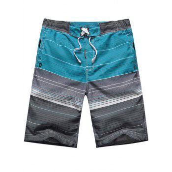 Drawstring Ombre Striped Color Block Panel Board Shorts
