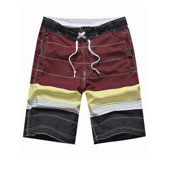 Drawstring Striped Panel Color Block Board Shorts