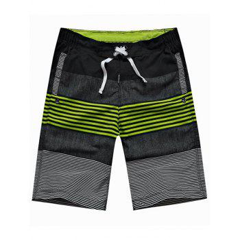 Drawstring Color Block Panel Striped Board Shorts