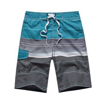 Ombre Stripe Color Block Panel Drawstring Board Shorts