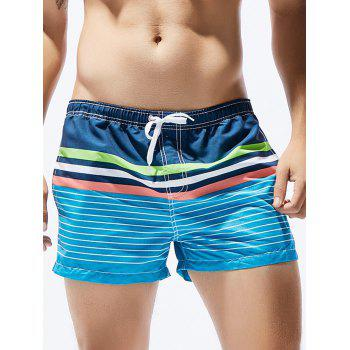Ombre Stripe Print Drawstring Straight Leg Board Shorts