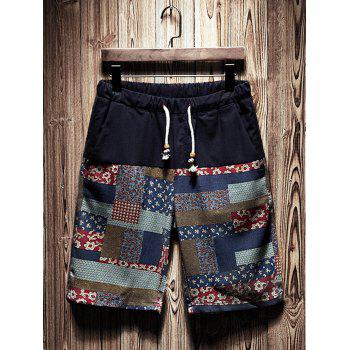 Tribal Patchwork Print Drawstring Waist Shorts