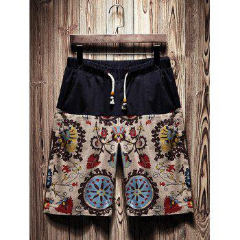 Drawstring Tribal Floral Printed Shorts