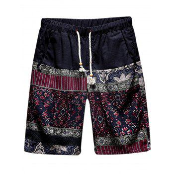 Tribal Print Panel Drawstring Waist Shorts