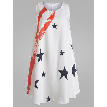 American Flag Print Mini Trapeze Dress
