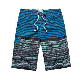 Stripe Color Block Panel Straight Leg Drawstring Board Shorts