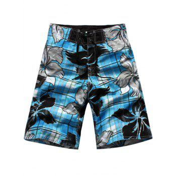 Floral and Plaid Print Side Pocket Drawstring Board Shorts