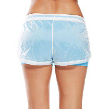 Layer Drawstring Sports Shorts with Pockets - AZURE L