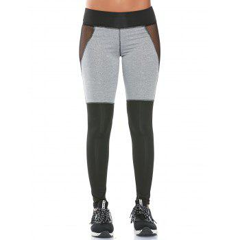 Color Block Workout Leggings with Mesh Panel - GRAY L