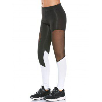 Colorblock Semi Sheer Mesh Workout Leggings