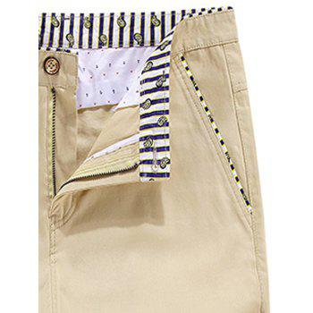 Striped Trim Zipper Fly Bermuda Shorts - KHAKI 38
