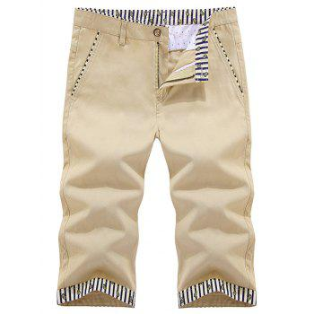 Striped Trim Zipper Fly Bermuda Shorts