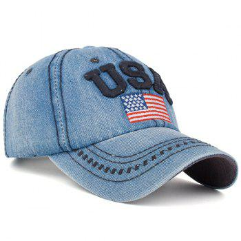 Ameriacn Element Embroidery Baseball Cap - CADETBLUE