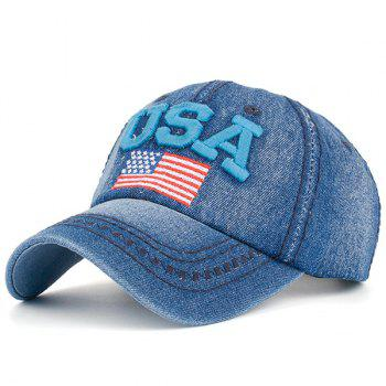 Ameriacn Element Embroidery Baseball Cap - BLUE BLUE