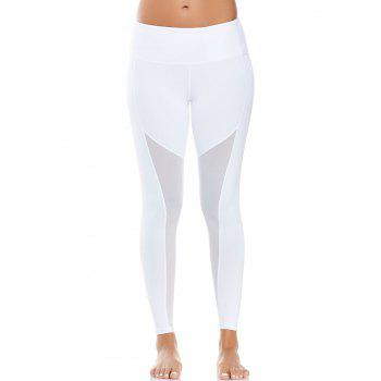 Mesh Panel High Waist Yoga Leggings - WHITE M