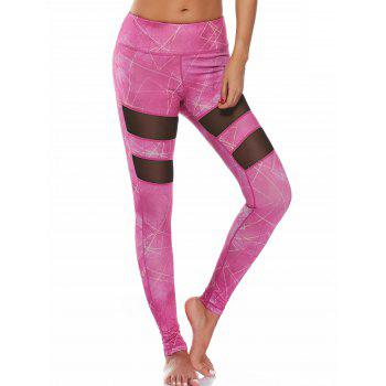 High Waist Pattern Mesh Panel Leggings