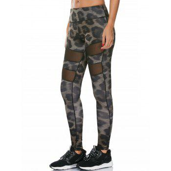 Snake Printed Workout Leggings with Mesh