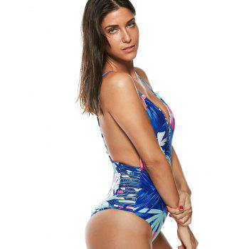 Floral One-Piece Strappy Swimsuit - BLUE BLUE
