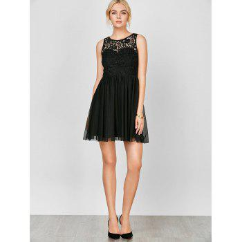 Sleeveless Voile Lace Short Cocktail Semi Formal Dress - M M