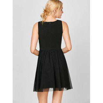 Sleeveless Voile Lace Short Cocktail Semi Formal Dress - BLACK BLACK