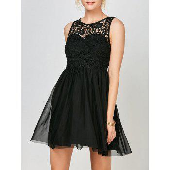 Sleeveless Voile Lace Short Cocktail Semi Formal Dress