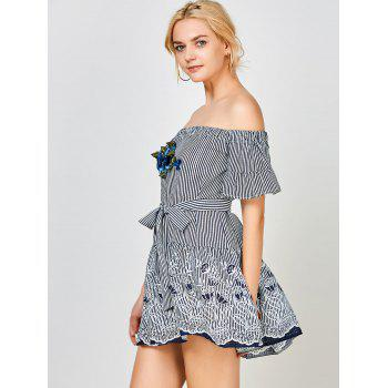 Stripe Off The Shoulder Floral Embroidery Dress - PURPLISH BLUE S