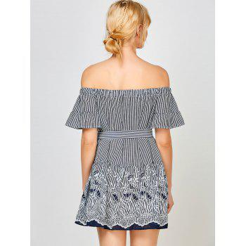 Stripe Off The Shoulder Floral Embroidery Dress - XL XL