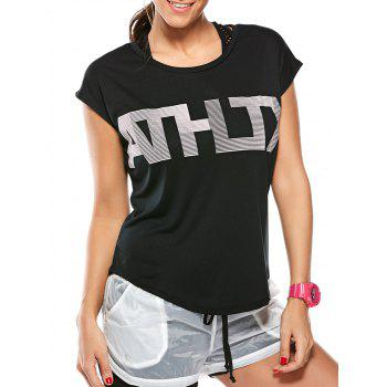 Asymmetric Letter Graphic Workout T-Shirt