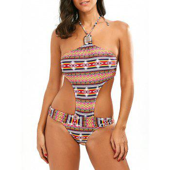 Open Back Geometric Print Swimwear