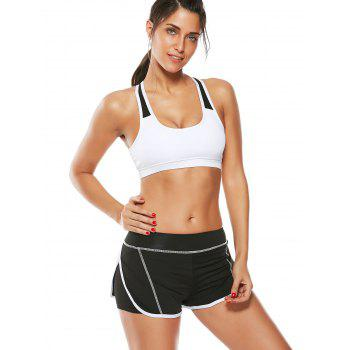 Strappy Padded Sports Bra and Layer Running Shorts - WHITE WHITE