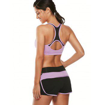 Strappy Padding Sports Bra et Layer Running Shorts - Pourpre M