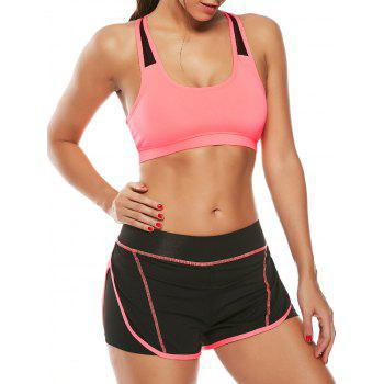 Strappy Padded Sports Bra and Layer Running Shorts - WATERMELON RED WATERMELON RED