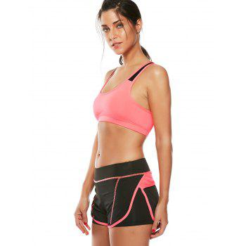 Strappy Padded Sports Bra and Layer Running Shorts - WATERMELON RED M