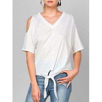 Dolman Sleeve Knotted Cold Shoulder Tee
