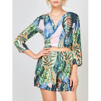 Palm Leaf Print Chiffon Cardigan Top With Shorts