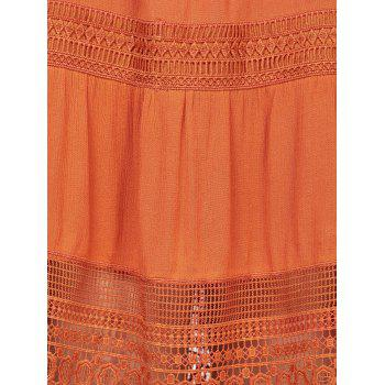 Lace Insert Bohemian Slip Dress - ORANGE RED M