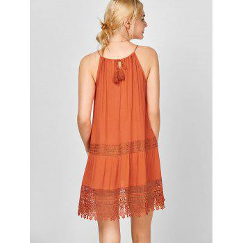Lace Insert Bohemian Slip Dress - ORANGE RED L